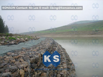Galvanized Wire Stone Gabion Basket For River Crossing / Marinas / Seashore Protection